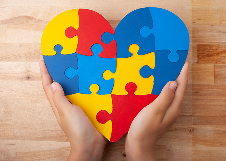 World Autism Awareness day, mental health care concept with puzzle or jigsaw pattern